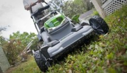 EGO 56V lawn mower mowing front