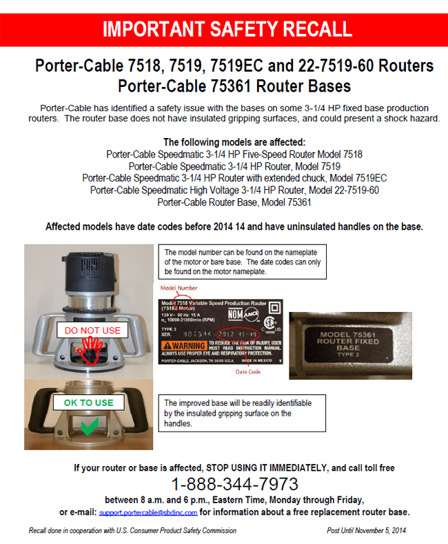 Porter-Cable Recall