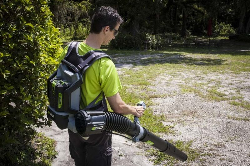 EGO backpack blower blowing