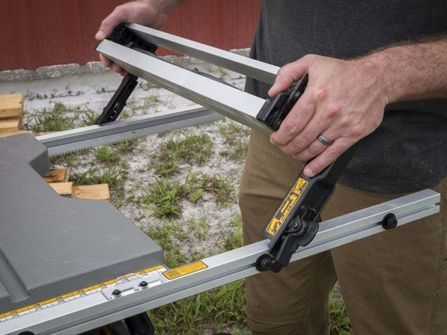 Best portable jobsite table saw shootout pro tool reviews best portable jobsite table saw shootout dewalt dwe7499gd fence greentooth
