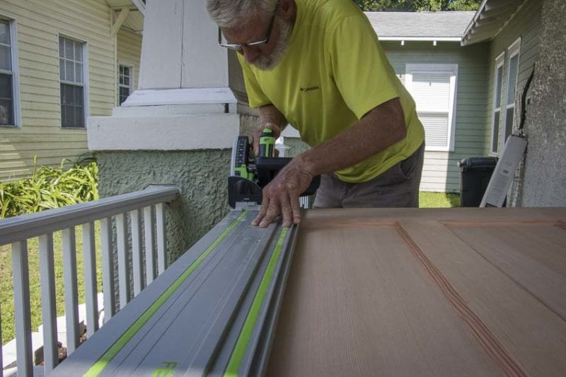 how to install a Simpson Craftsman door ripping with Festool Track Saw