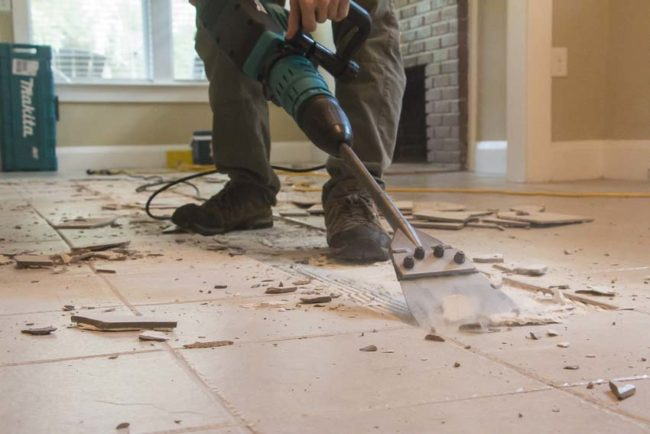 How To Remove Tile The Easy Way Like A Pro Pro Tool Reviews - Mechanical floor scraper