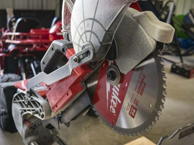 Milwaukee M18 sliding miter saw blade guard