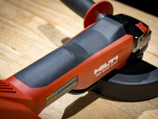angle grinder in use. hilti ag 600 a-36 angle grinder in use u