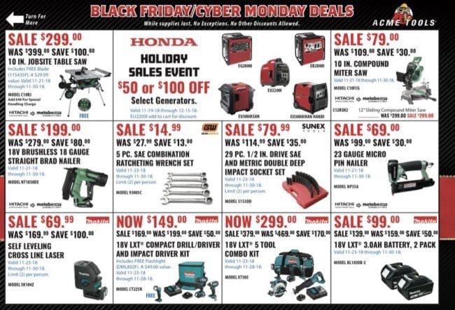 Acme Tools Black Friday deals 1