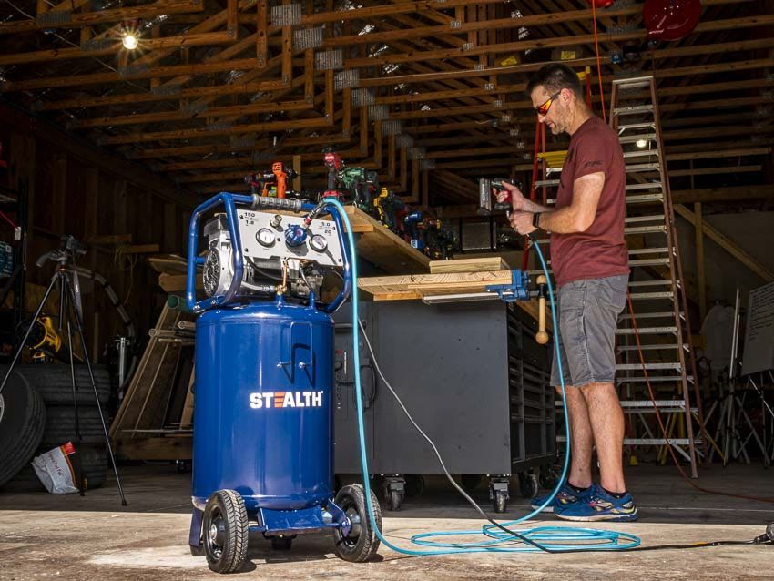 Ultra Quiet STEALTH Air Compressor Blue, SAQ-12018 Oil-Free and Long Life Cycle,1.8 Hp 20 Gallon Compressor with Large Rubber Wheels