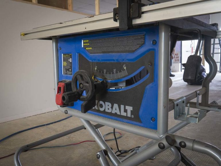 Kobalt Portable Table Saw bevel adjustment