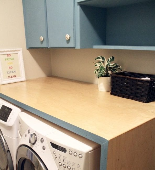 laundry room makeover waterfall countertop